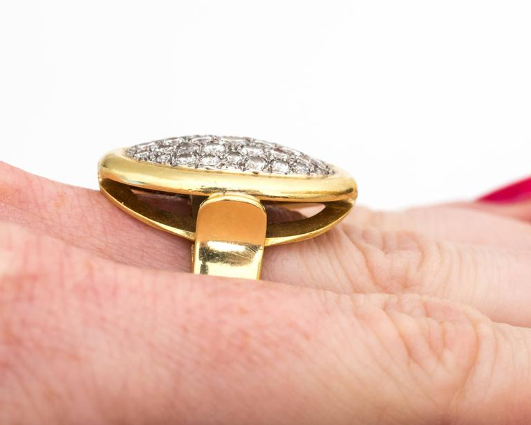 Women's 1950s Pave Diamond and 18 Karat Yellow Gold Oval Cocktail Ring For Sale