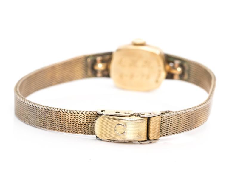 Omega Ladies Yellow Gold Diamonds Wristwatch circa 1970s  For Sale 1