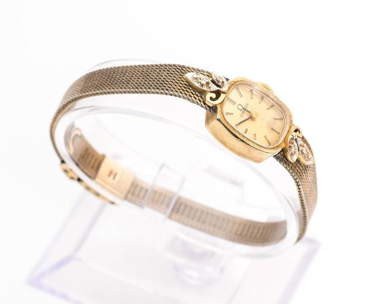 Women's Omega Ladies Yellow Gold Diamonds Wristwatch circa 1970s  For Sale