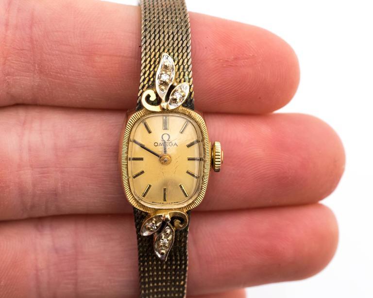 Omega Ladies Yellow Gold Diamonds Wristwatch circa 1970s  For Sale 2