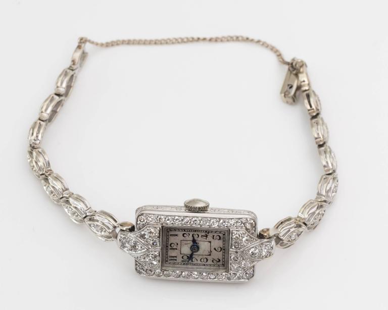 1884 Victorian Ladies White Gold Diamond Wristwatch For Sale 2