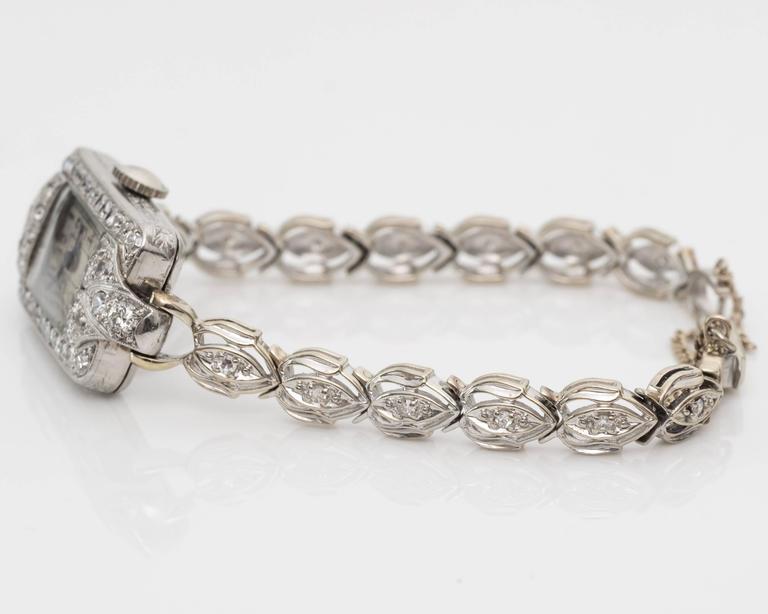 1884 Victorian Ladies White Gold Diamond Wristwatch For Sale 3