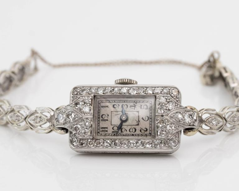 1884 Victorian Ladies White Gold Diamond Wristwatch In Good Condition For Sale In New York, NY