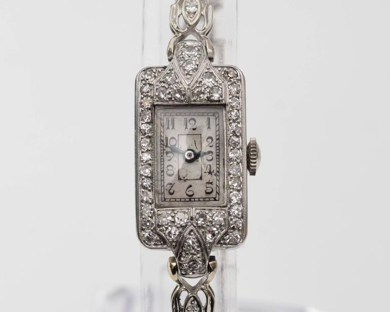 Women's 1884 Victorian Ladies White Gold Diamond Wristwatch For Sale