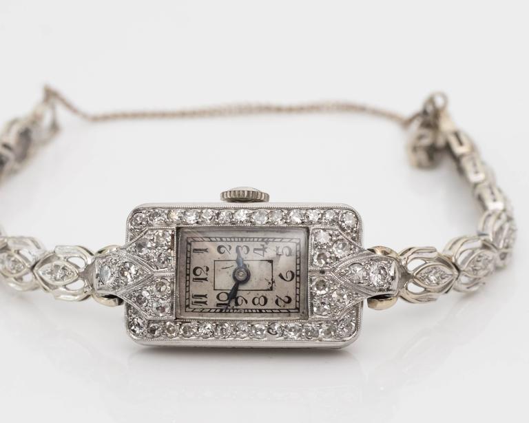 1884 Victorian Ladies White Gold Diamond Wristwatch For Sale 1