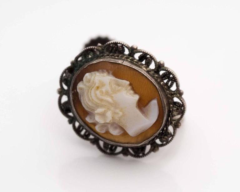 1870s Cameo French Screwback Silver Earrings In Good Condition For Sale In New York, NY