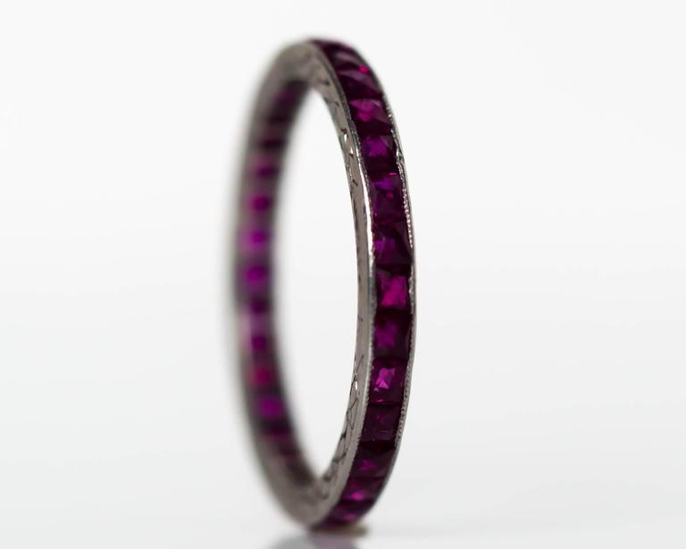 1920s Art Deco Platinum 1.00 Total Carat Weight Ruby Eternity Band 2