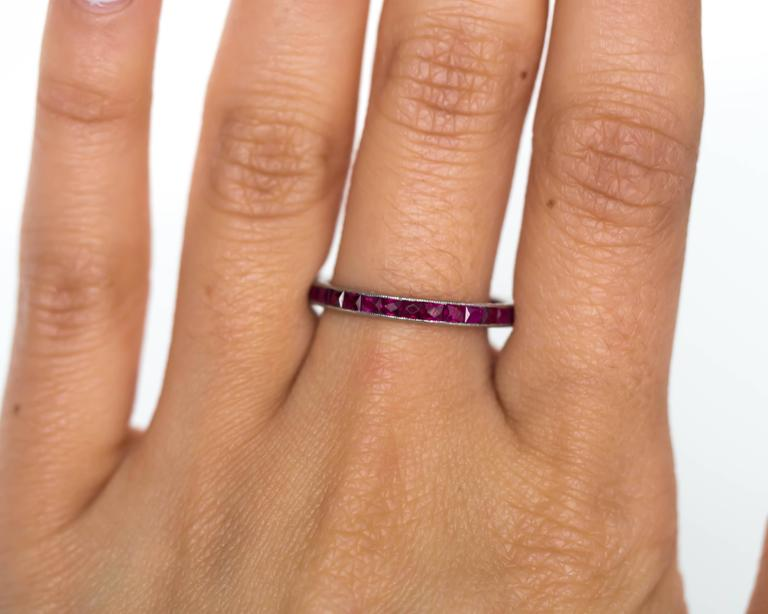 1920s Art Deco Platinum 1.00 Total Carat Weight Ruby Eternity Band 5