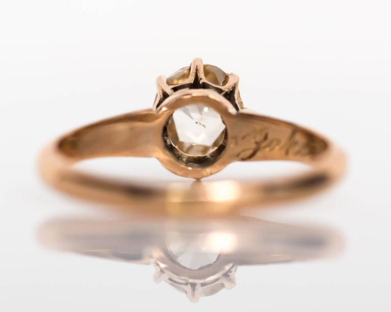 Women's 1880s Victorian .83 Carat Rose Cut Diamond Yellow Gold Engagement Ring For Sale