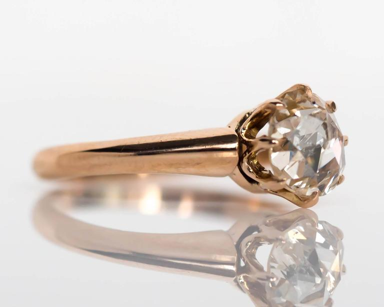 1880s Victorian .83 Carat Rose Cut Diamond Yellow Gold Engagement Ring In Excellent Condition For Sale In Hicksville, NY
