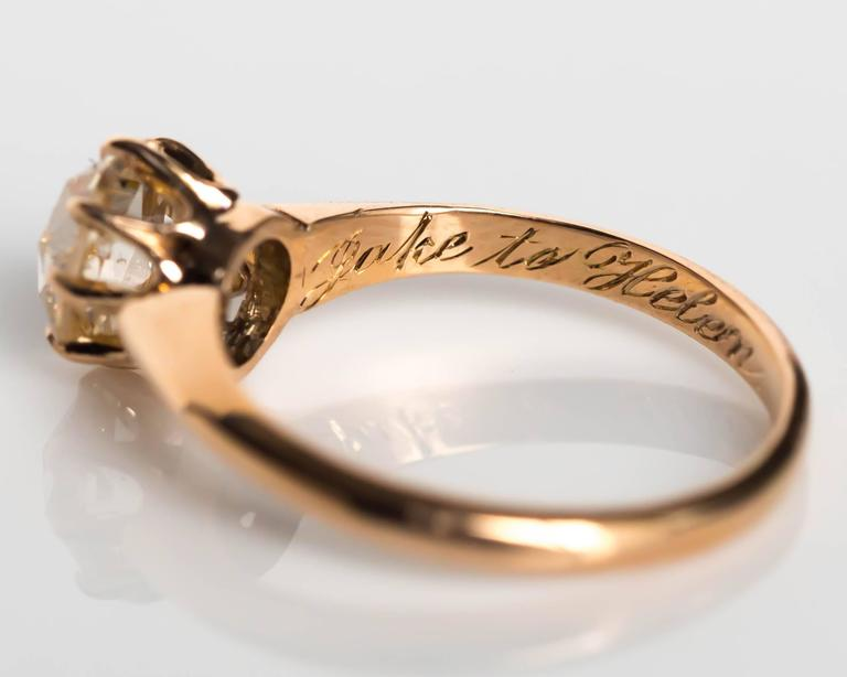1880s Victorian .83 Carat Rose Cut Diamond Yellow Gold Engagement Ring For Sale 2