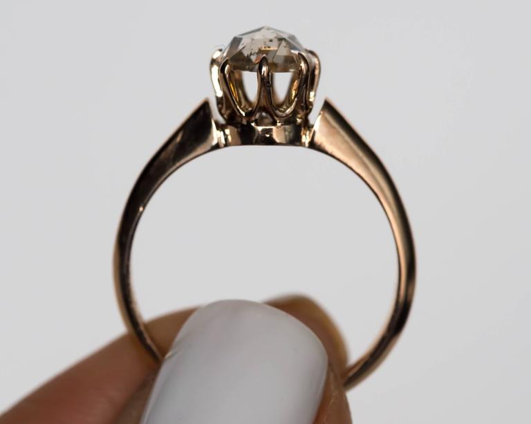 1880s Victorian .83 Carat Rose Cut Diamond Yellow Gold Engagement Ring For Sale 3