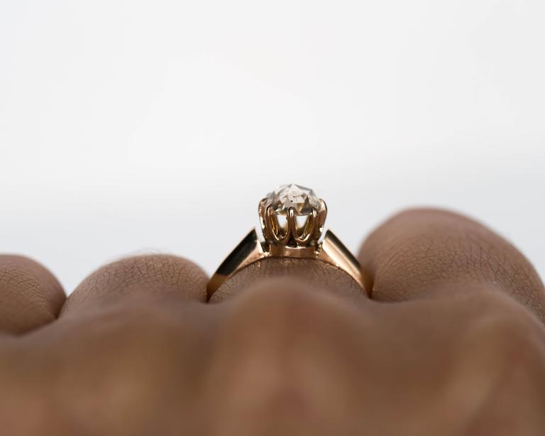 1880s Victorian .83 Carat Rose Cut Diamond Yellow Gold Engagement Ring For Sale 6