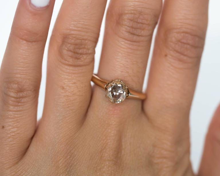 1880s Victorian .83 Carat Rose Cut Diamond Yellow Gold Engagement Ring For Sale 4