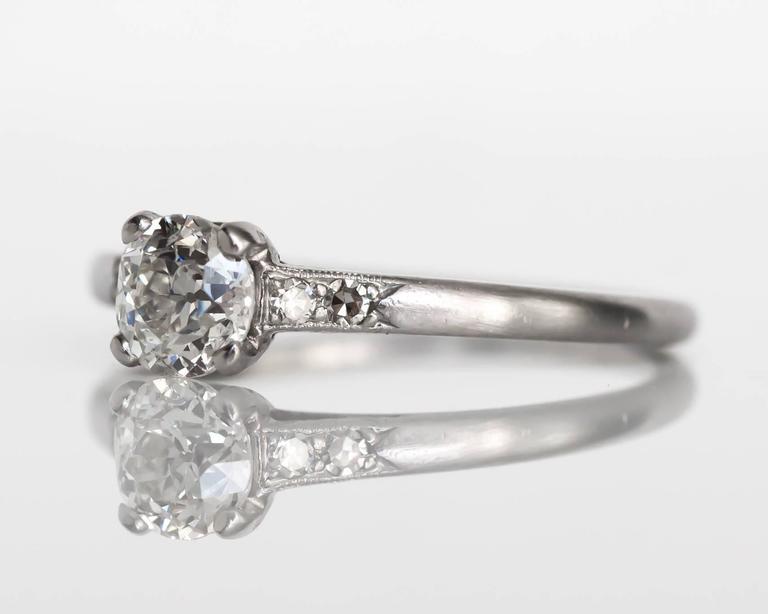 Item Details:  Ring Size: 7 Metal Type: Platinum Weight: 3.4 grams  Center Diamond Details GIA CERTIFIED Center Diamond - Certificate #5181221046 Shape: Old European Brilliant Carat Weight: .66 carat Color: J Clarity: I1  Side Stone Details:  Shape: