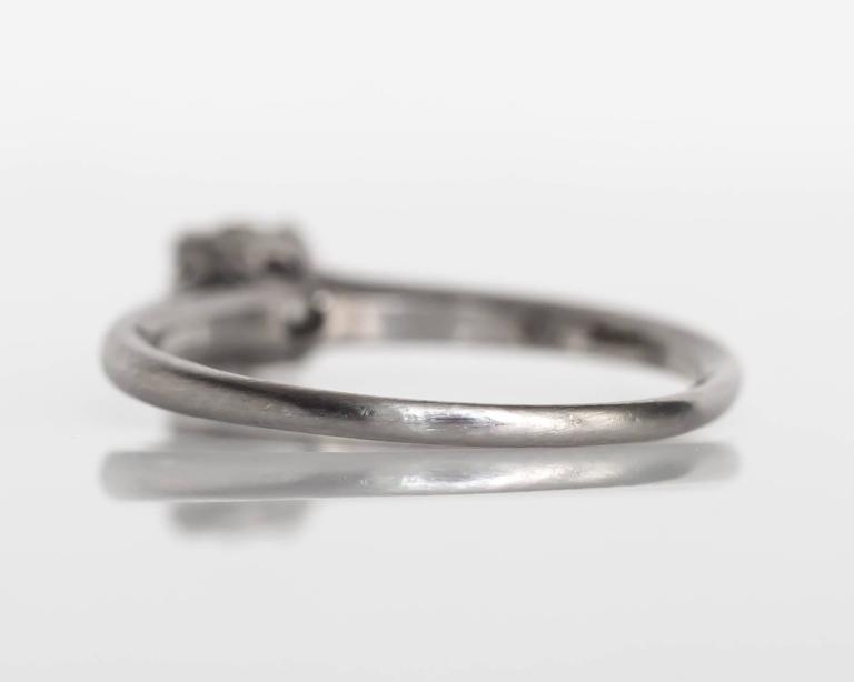 1905 Edwardian Platinum GIA Certified .66 Carat Diamond Engagement Ring For Sale 1