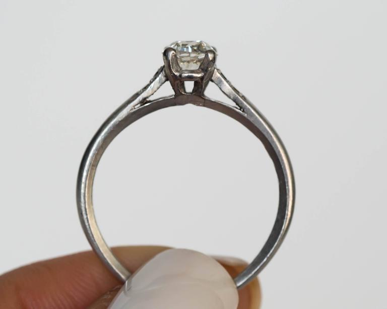 1905 Edwardian Platinum GIA Certified .66 Carat Diamond Engagement Ring For Sale 2