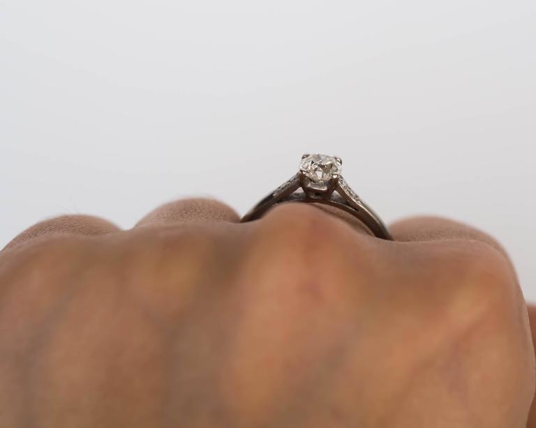 1905 Edwardian Platinum GIA Certified .66 Carat Diamond Engagement Ring For Sale 5