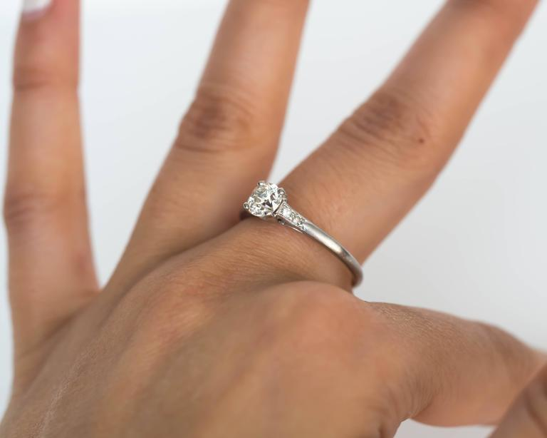 1905 Edwardian Platinum GIA Certified .66 Carat Diamond Engagement Ring For Sale 4