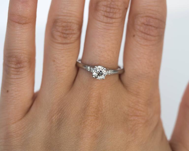 1905 Edwardian Platinum GIA Certified .66 Carat Diamond Engagement Ring For Sale 3