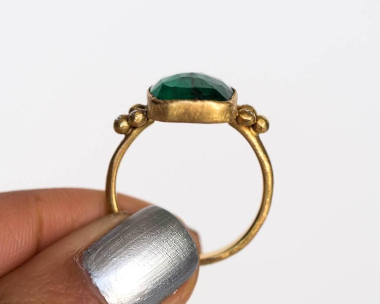 Emerald Diamond Hammered Yellow Gold Finish Ring For Sale 1