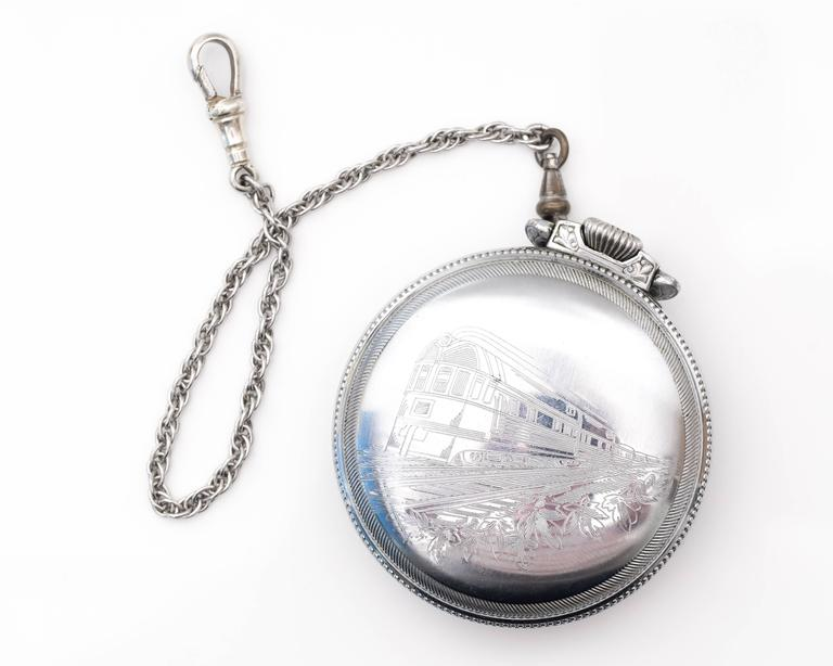 1900s Edwardian Illinois Railroad Pocket Watch  In Good Condition For Sale In New York, NY