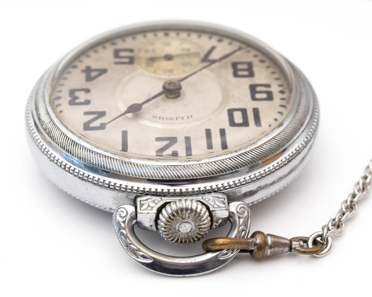 1900s Edwardian Illinois Railroad Pocket Watch  For Sale 1