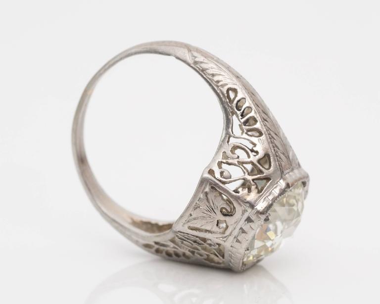 Old European Cut 1920s Art Deco GIA 1.45 Carat Old European Diamond Platinum Engagement Ring For Sale