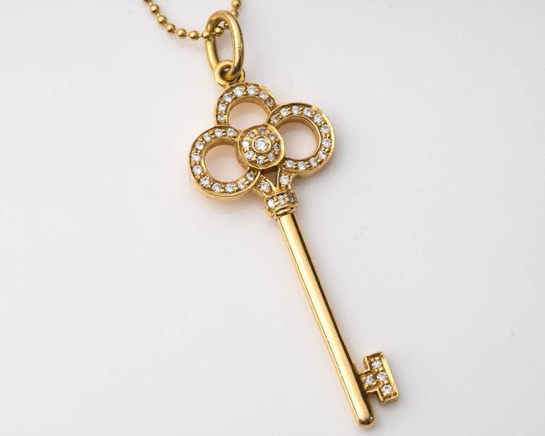 2b019b223 Women's Tiffany & Co. Diamond Rose Gold Crown Key Pendant Necklace For Sale
