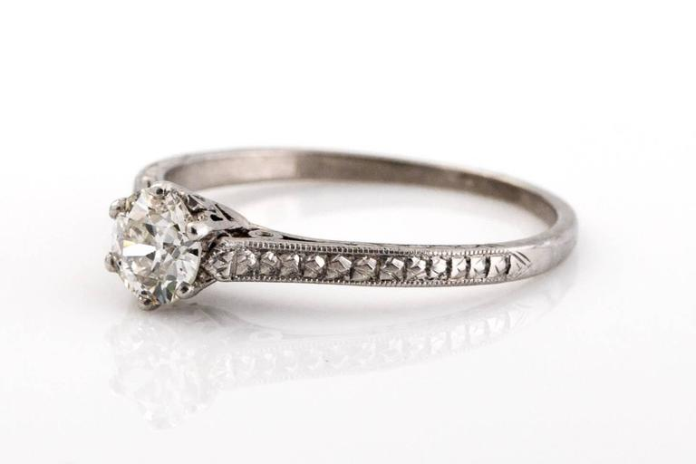 1910 Edwardian GIA Certified .33 Carat Diamond Platinum Engagement Ring In Excellent Condition For Sale In New York, NY