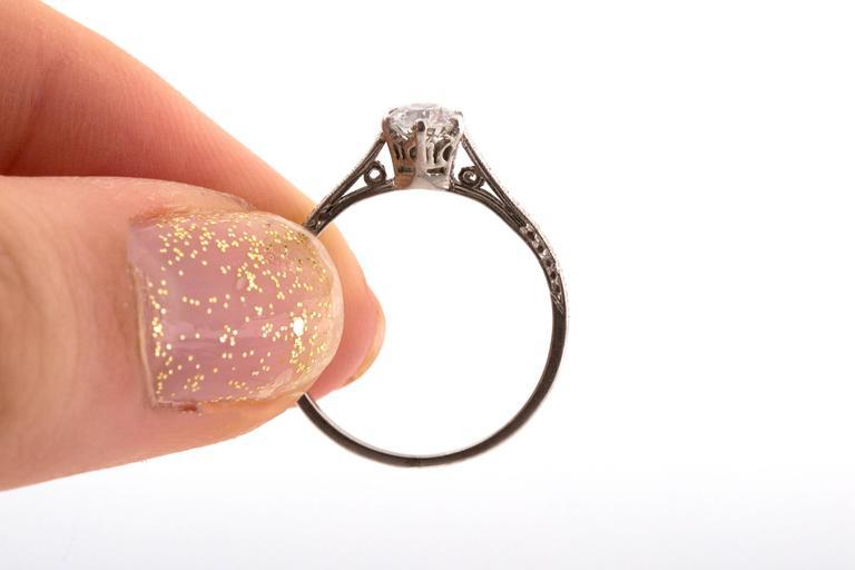 1910 Edwardian GIA Certified .33 Carat Diamond Platinum Engagement Ring For Sale 1
