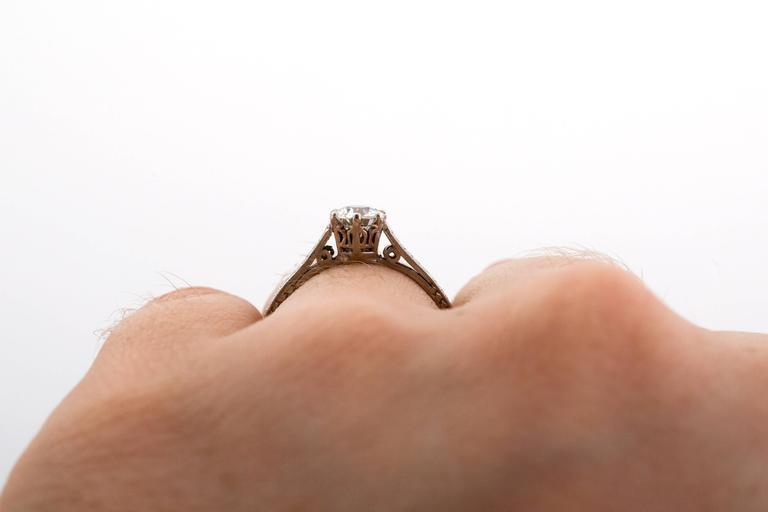 1910 Edwardian GIA Certified .33 Carat Diamond Platinum Engagement Ring For Sale 2