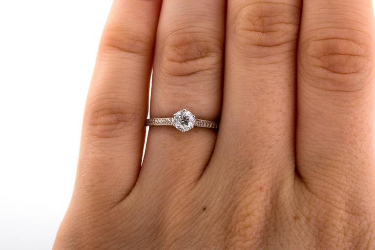 1910 Edwardian GIA Certified .33 Carat Diamond Platinum Engagement Ring For Sale 3
