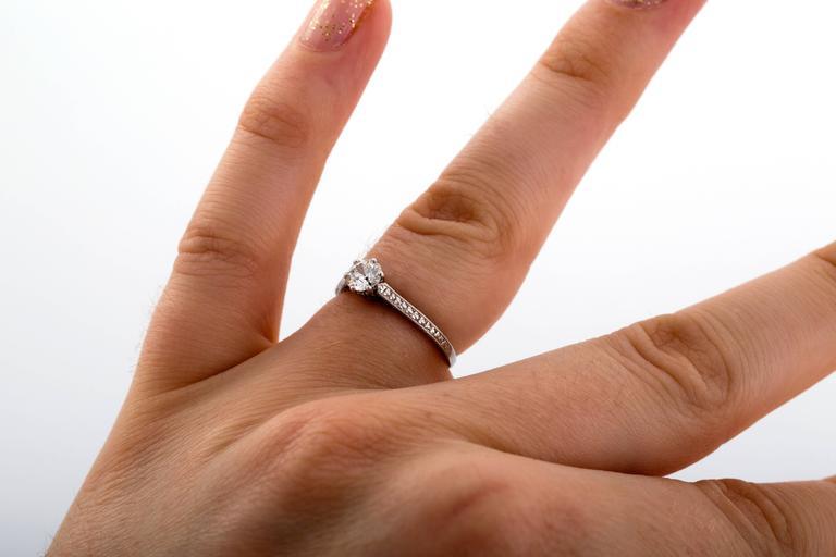 1910 Edwardian GIA Certified .33 Carat Diamond Platinum Engagement Ring For Sale 5