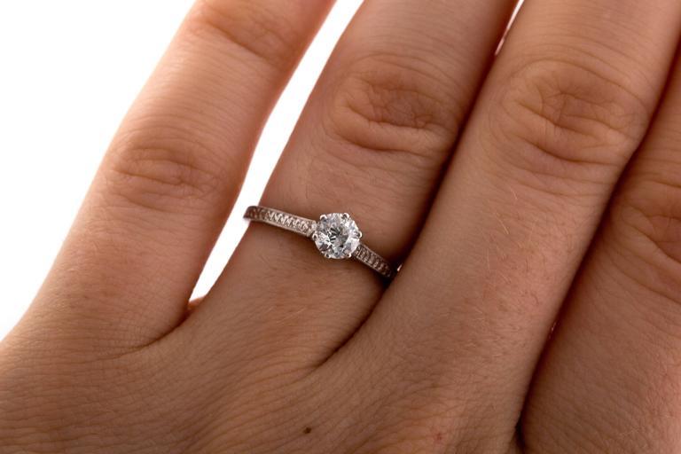 1910 Edwardian GIA Certified .33 Carat Diamond Platinum Engagement Ring For Sale 4