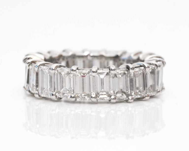 Emerald Cut 10 Carat Emerald-Cut Diamonds Platinum Eternity Band Ring For Sale