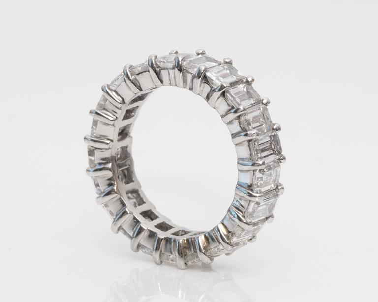 Women's 10 Carat Emerald-Cut Diamonds Platinum Eternity Band Ring For Sale