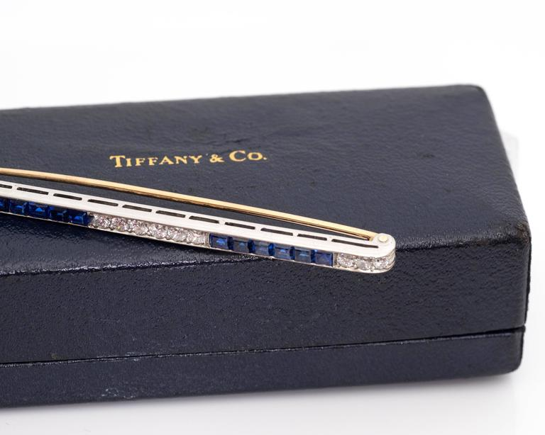 Retro 1940s Tiffany & Co. Diamond Platinum Bar Pin Brooch For Sale