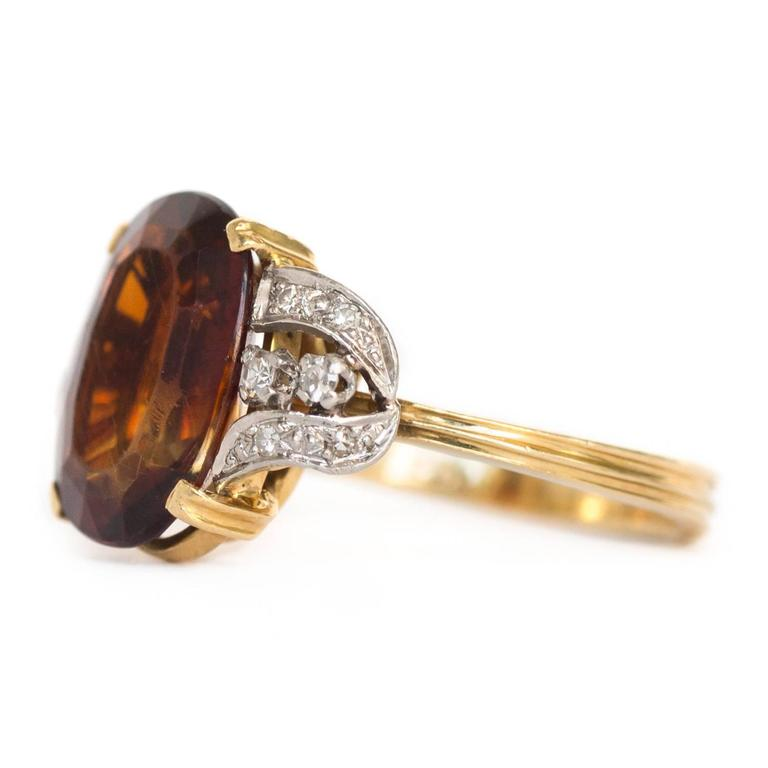 1950s H.Stern 4 Carat Citrine Diamond Yellow Gold Ring For Sale at ...
