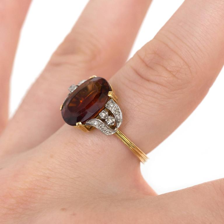 Engagement Rings Sterns: 1950s H.Stern 4 Carat Citrine Diamond Yellow Gold Ring For