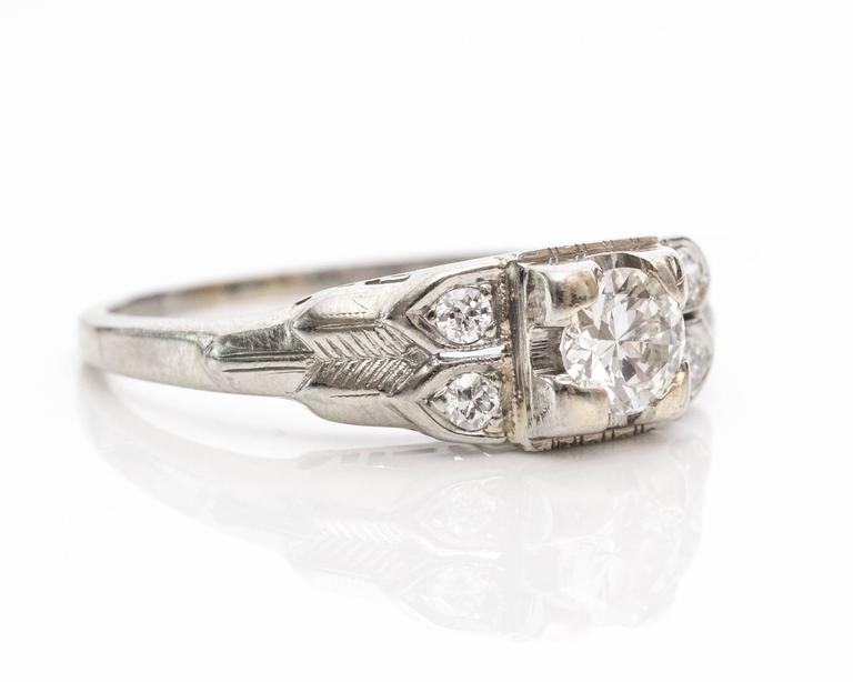 85e1e51dcc 1930s Art Deco Old European Diamond white gold Engagement Ring. This  beautiful ring has five