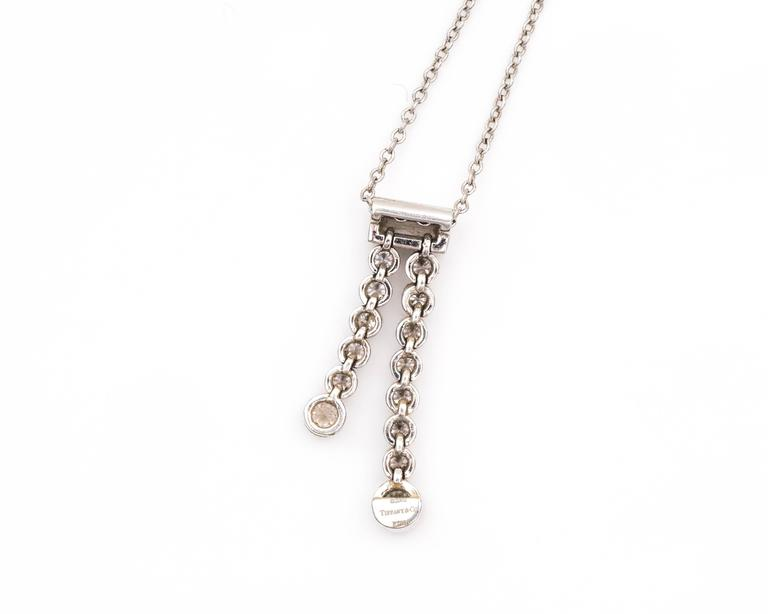 Tiffany & Co. Platinum Diamond Jazz Double Drop Pendant Necklace 6