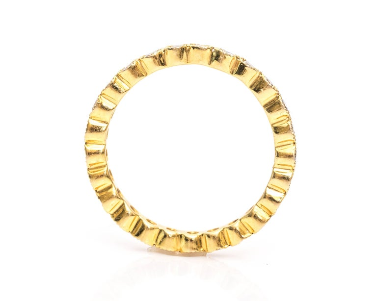 Modern 1990s Diamond and 14 Karat Yellow Gold Eternity Band Ring For Sale