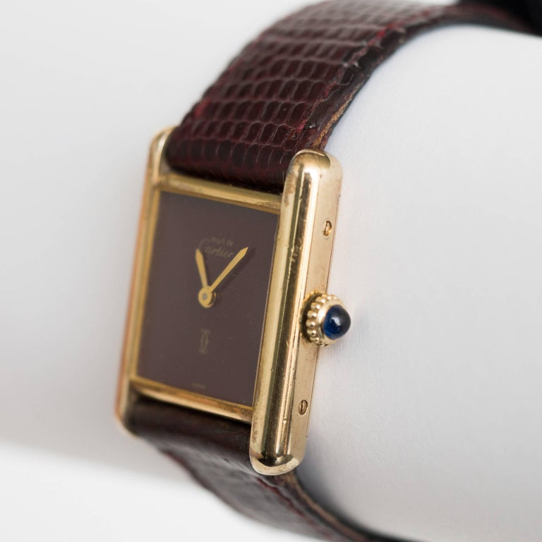Cartier yellow gold silver vermeil Must de Cartier Tank Manual Wristwatch, 1977  1