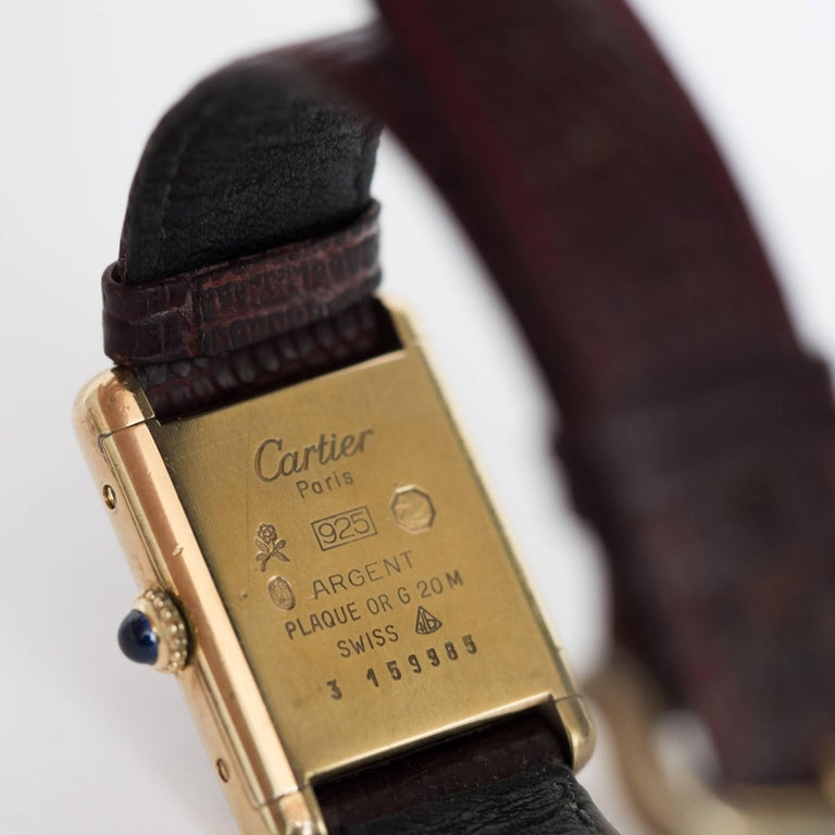 Women's or Men's Cartier yellow gold silver vermeil Must de Cartier Tank Manual Wristwatch, 1977