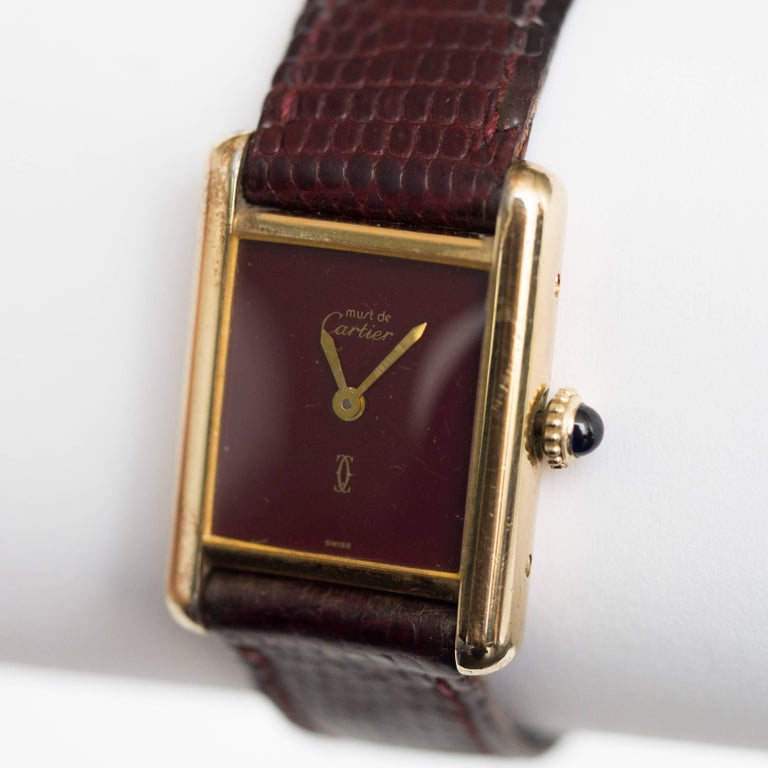 Cartier yellow gold silver vermeil Must de Cartier Tank Manual Wristwatch, 1977  In Excellent Condition In New York, NY