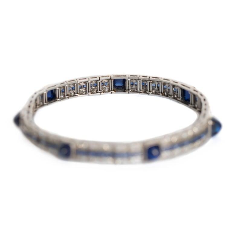 1920s Cabochon Sapphire Diamond Bracelet 3