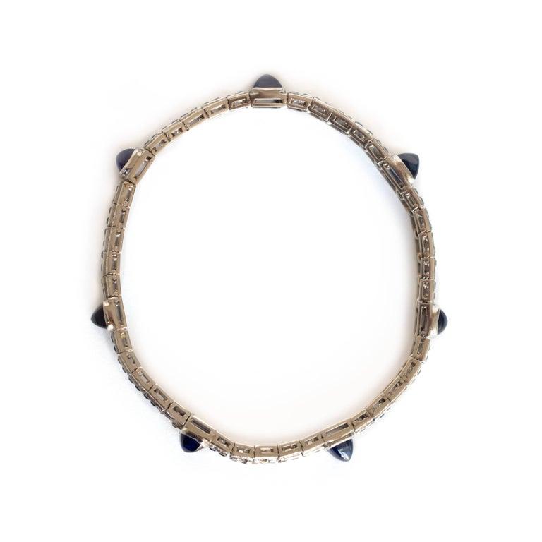 1920s Cabochon Sapphire Diamond Bracelet 7