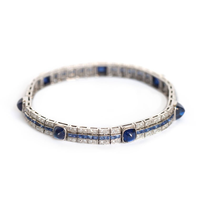 1920s Cabochon Sapphire Diamond Bracelet 2