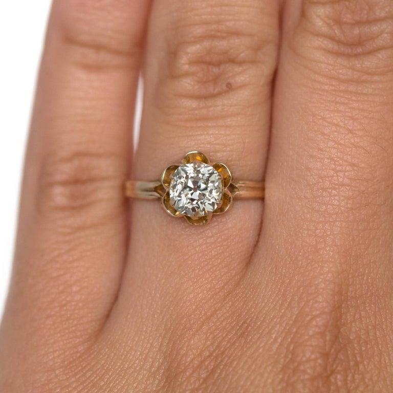 1890s Victorian 1.05 Carat Diamond 14 Karat Yellow Gold Engagement Ring For Sale 3